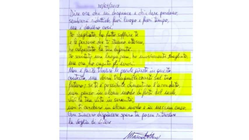 la lettera di mauro fabbri a lucia panigalli