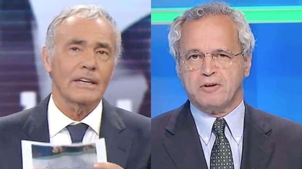 Massimo Giletti ed Enrico Mentana in primo piano