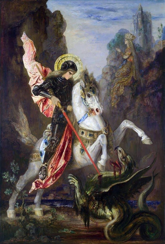Raffigurazione di San Giorgio intento a uccidere un drago