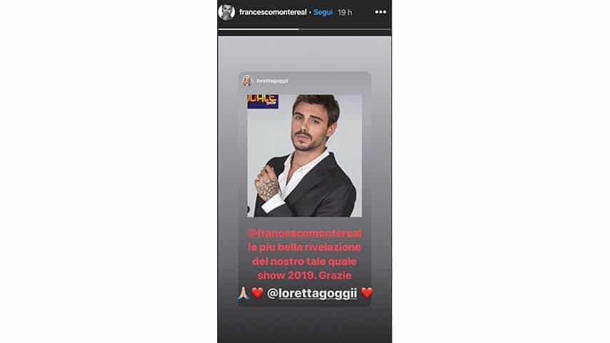 Instagram Story di Francesco Monte