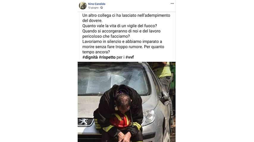 Post di Nino Candido su Facebook