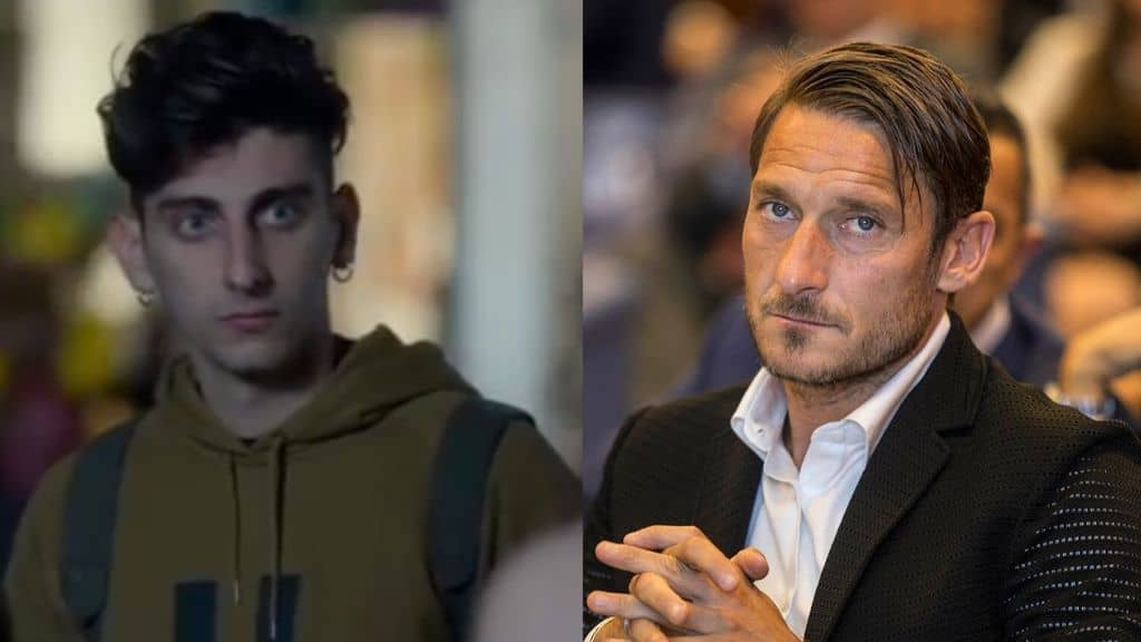 pietro castellitto e francesco totti in primo piano