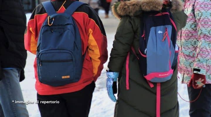 Studenti con zaini fuori da scuola