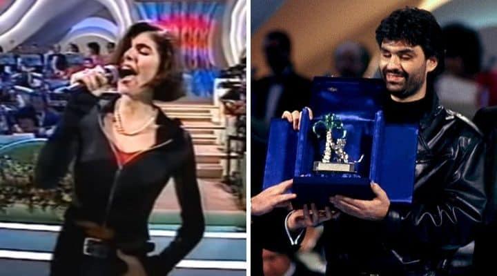Giorgia e Andrea Bocelli a Sanremo nel 1994