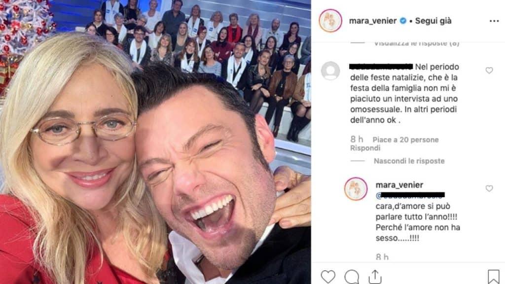 commenti su instagram sotto una foto di mara venier e tiziano ferro