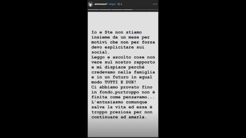 La Instagram Story in cui Alessandra Amoroso parla della fine della sua storia con Stefano Settepani