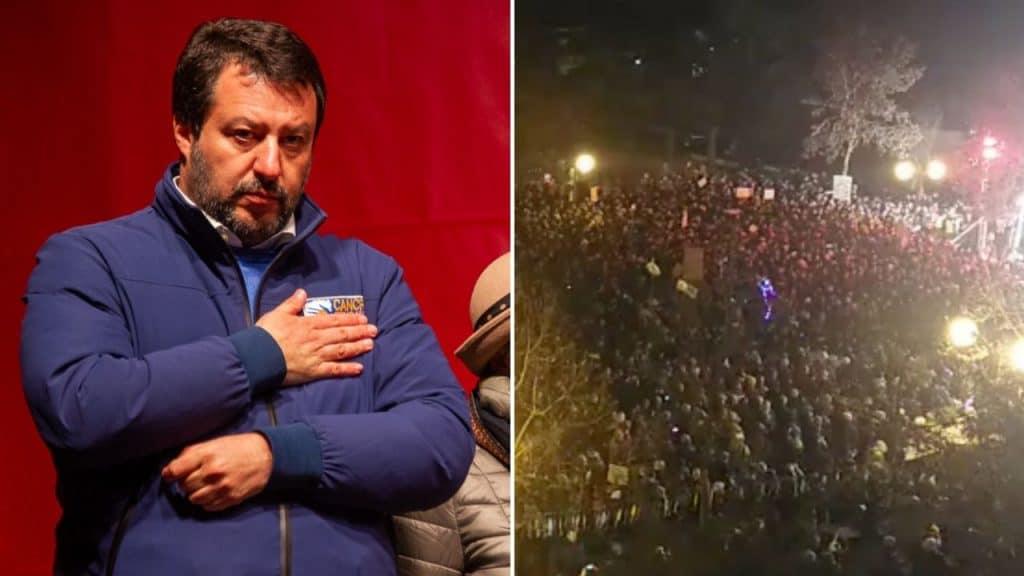 Bibbiano, Salvini e sardine in piazza per le elezioni in Emilia Romagna