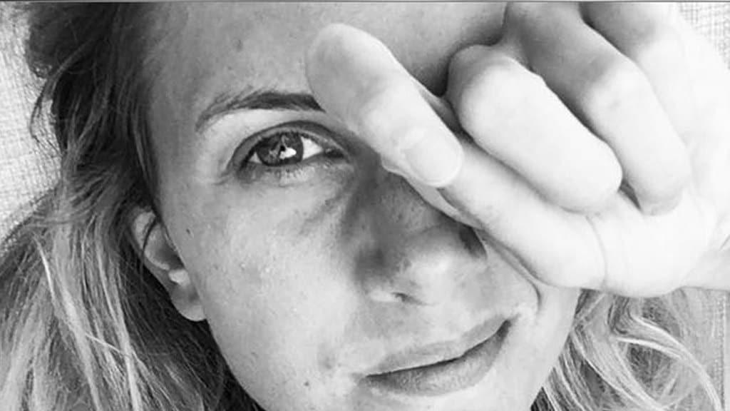 Martine Rollandin primo piano in bianco e nero