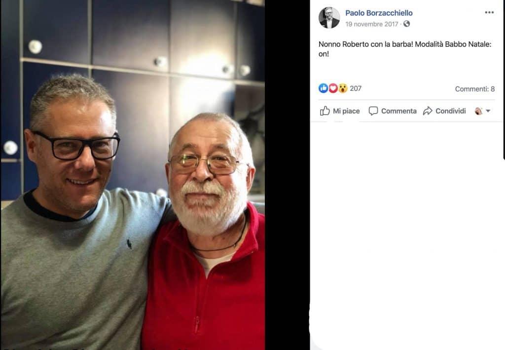 Paolo Borzacchiello e suo padre in un post su Facebook