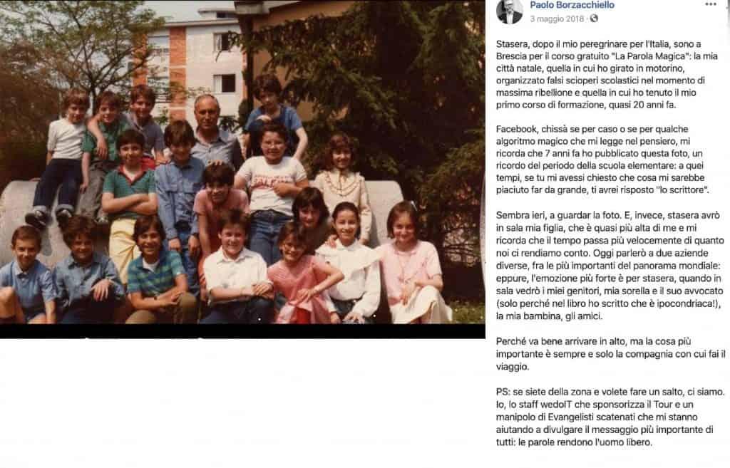 Foto di classe di Paolo Borzacchiello in un post di Facebook