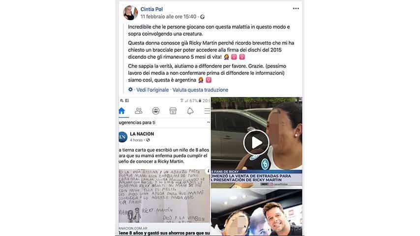 Post Facebook su Ricky Martin