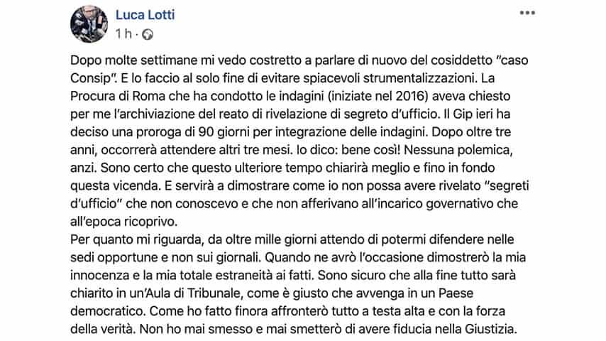 Post di Luca Lotti su Facebook