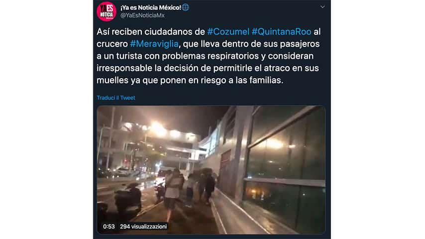 Post sulle proteste contro Msc Meraviglia su Twitter
