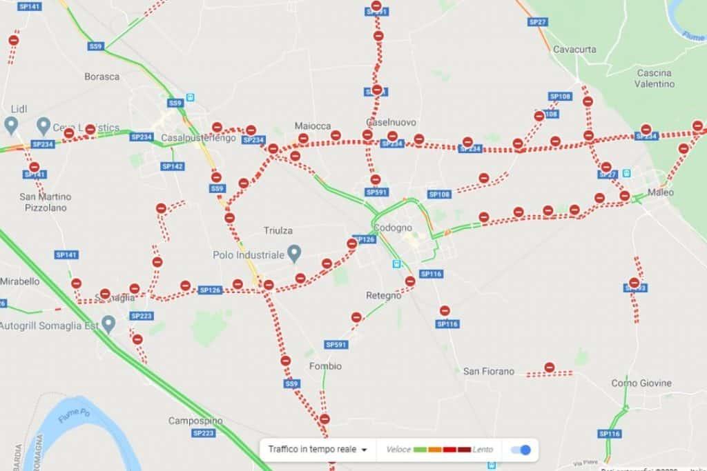 Le strade chiuse del comune di Codogno viste con Google Maps