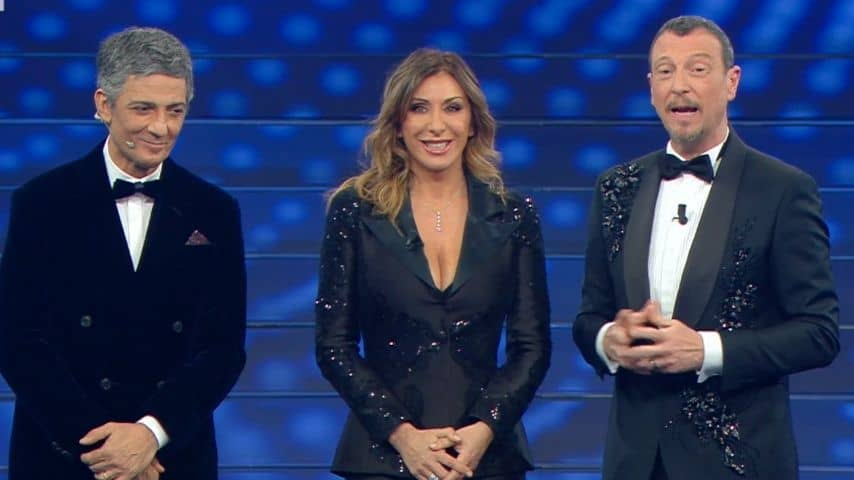 Sabrina Salerno all'Ariston con Fiorello e Amadeus