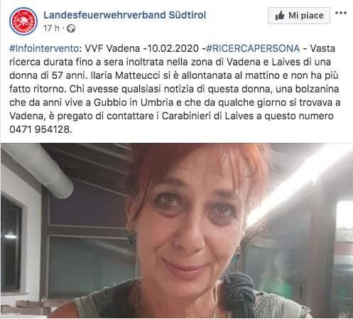 Post sulla scomparsa Ilaria Matteucci