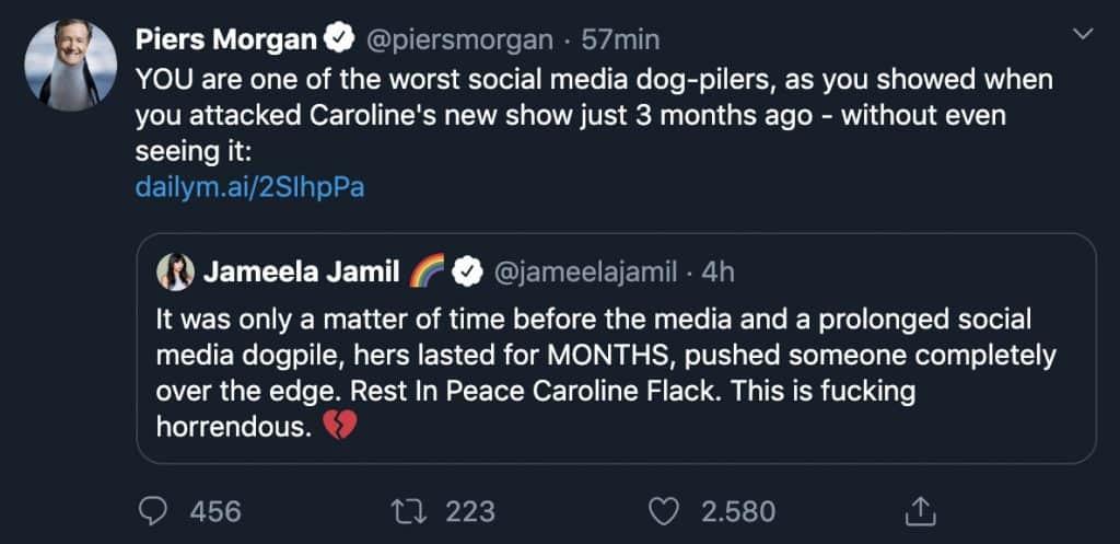 scambio di tweet tra piers morgan e Jameela Jamil
