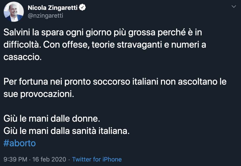Tweet di Nicola Zingaretti