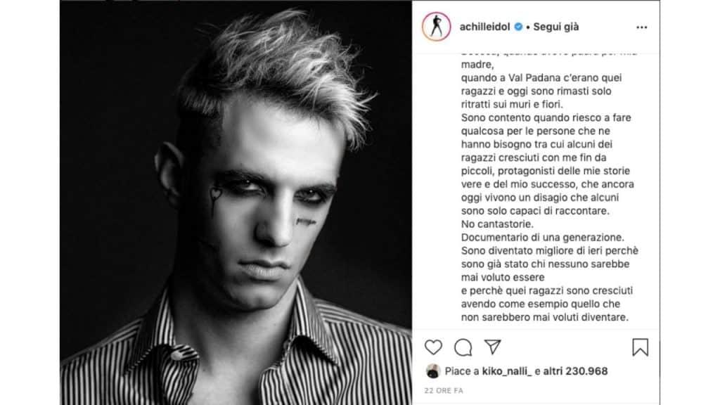 post instagram di Achille Lauro
