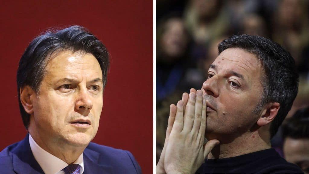 Giuseppe Conte e Matteo Renzi in primo piano