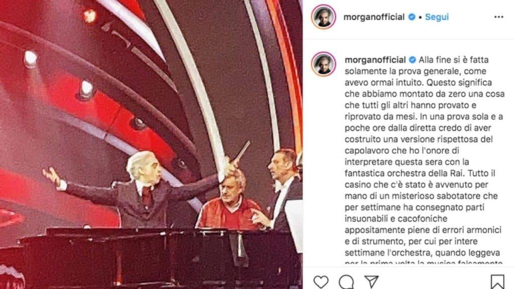 Il post pubblicato su Instagram da Morgan