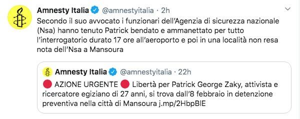Post di Amnesty Italia sul caso Zaki