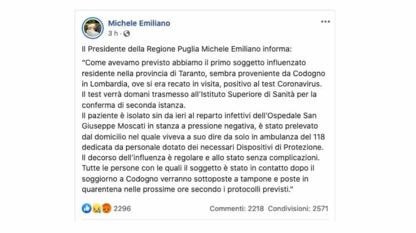 ll post del Presidente della Regione Michele Emiliano