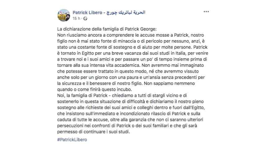 Post della famiglia di Patrick George Zaki