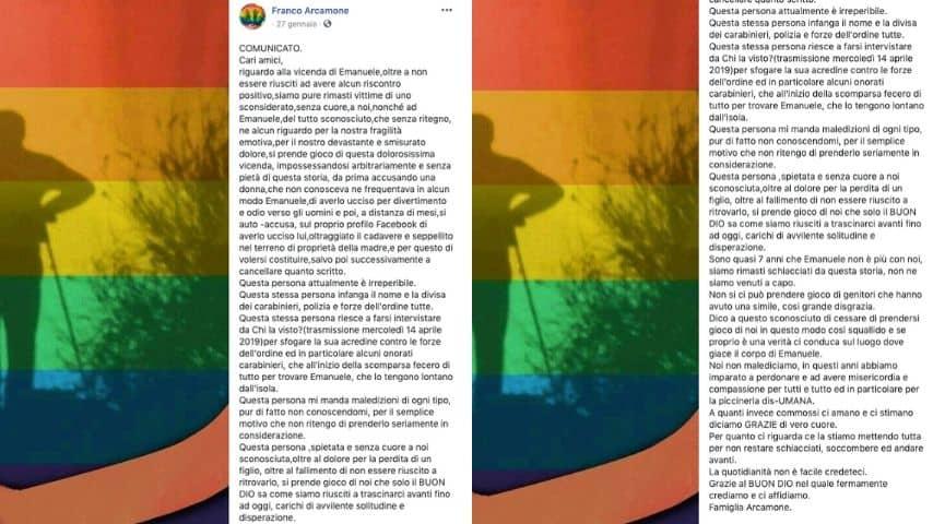 Post del padre Franco Arcamone