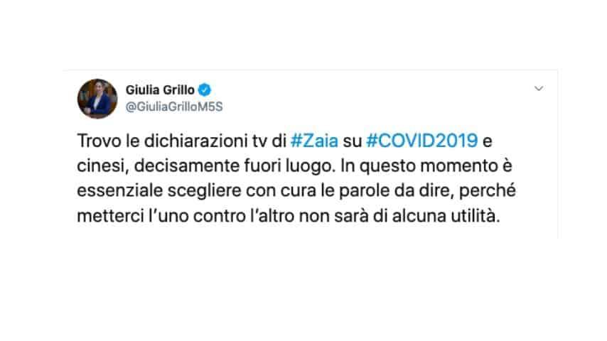 Il Tweet di Giulia Grillo