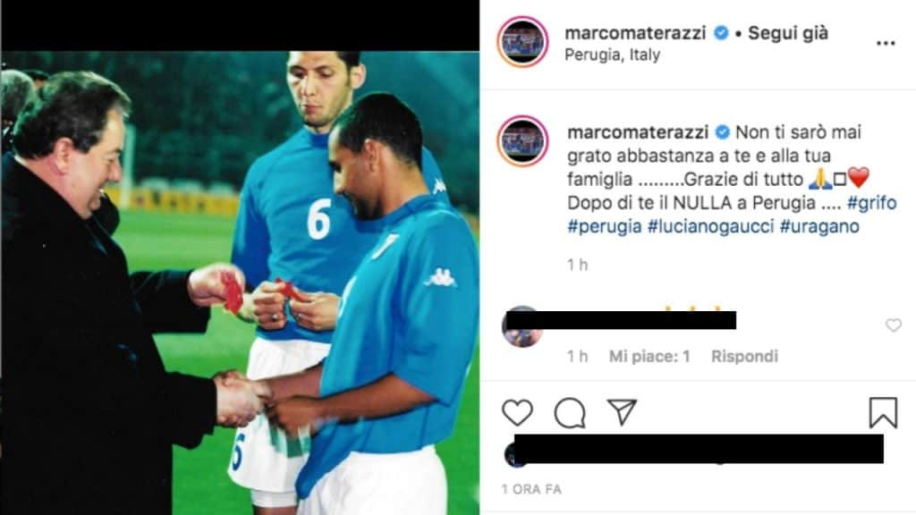 il post scritto su Instagram da Marco Materazzi