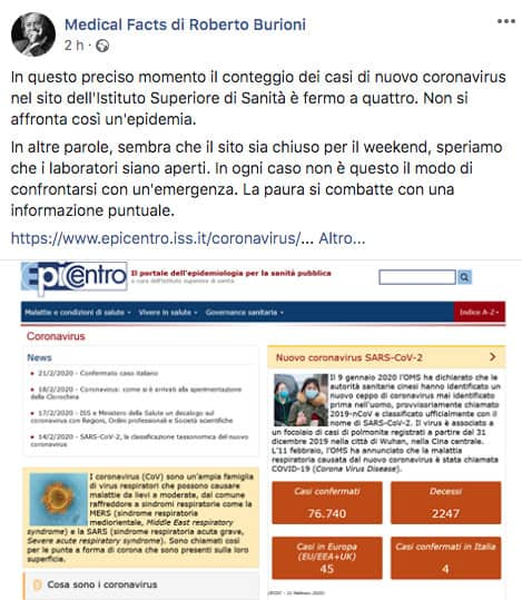 Post Facebook di Roberto Burioni
