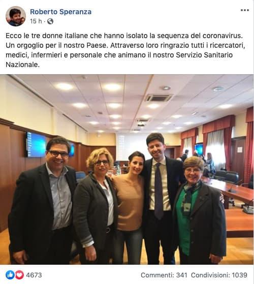 Roberto Speranza con Maria Rosaria Capobianchi, Francesca Colavita e Concetta Castilletti