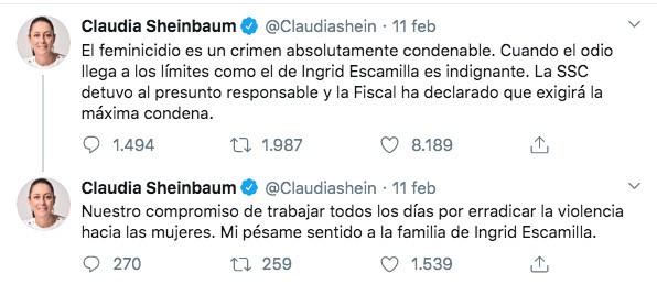 Tweet di Claudia Sheinbaum