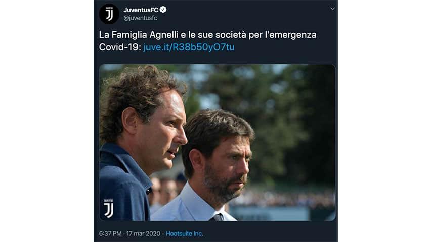 Annuncio della Juventus su Twitter