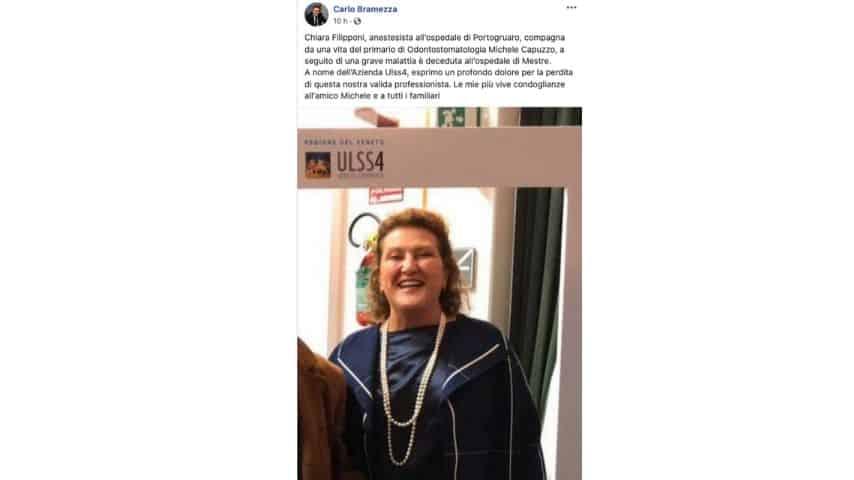 Il post a ricordo di Chiara Filipponi