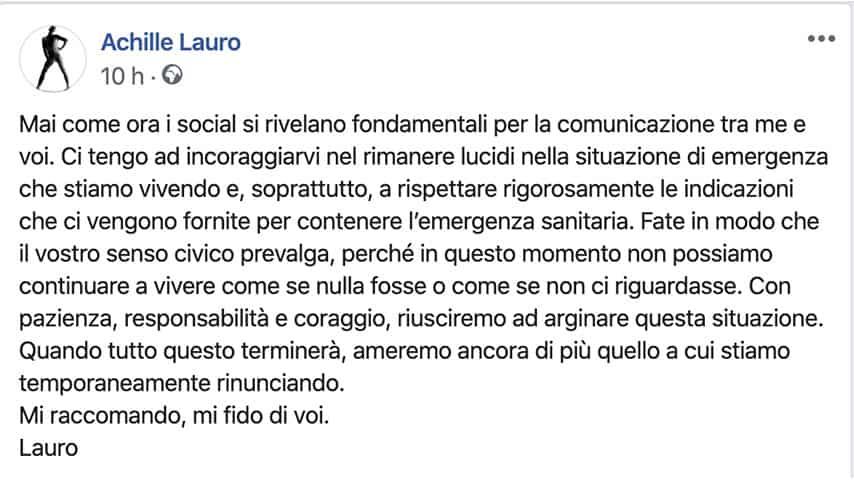 Post di Achille Lauro su Facebook