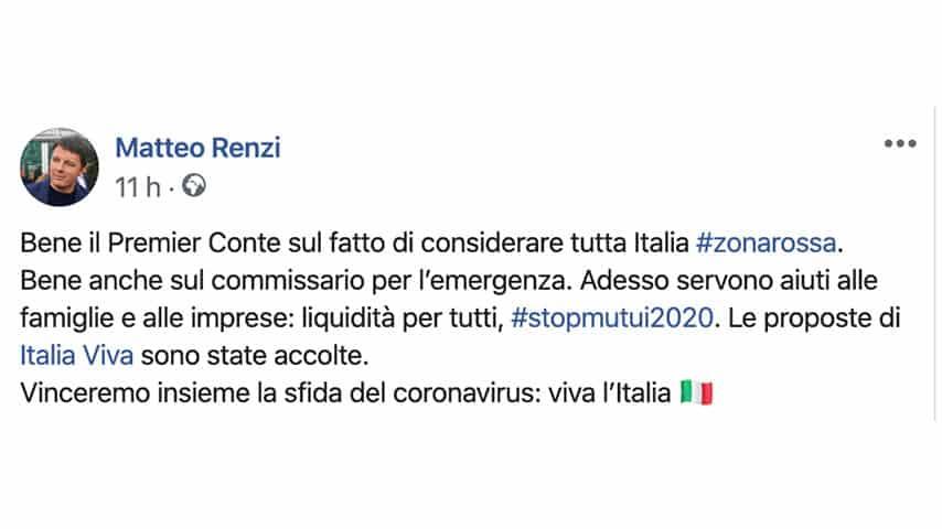 Post di Matteo Renzi su Facebook