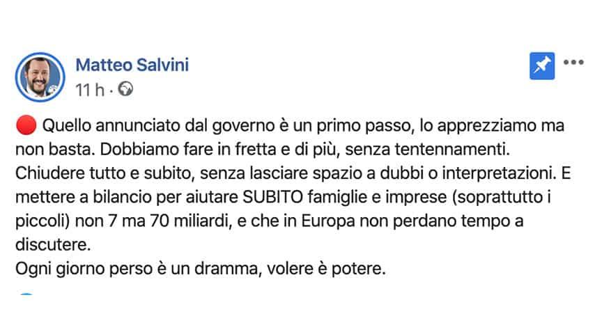 Post di Matteo Salvini su Facebook