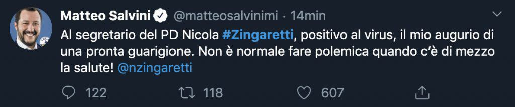 tweet di Matteo salvini