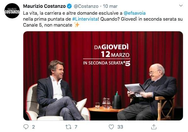 Post twitter di Maurizio Costanzo
