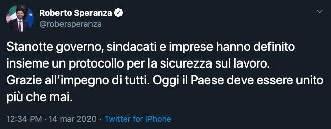 Tweet del ministro Roberto Speranza