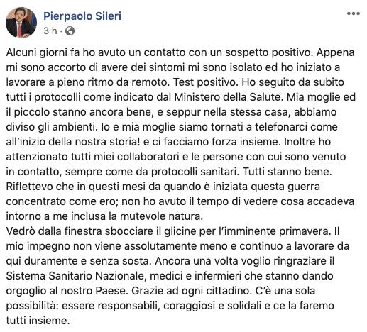 Post del viceministro Pierpaolo Sileri