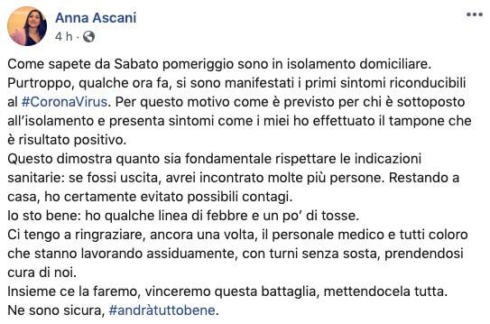 Post della viceministra Anna Ascani