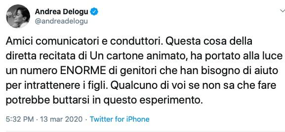 Tweet- Andrea- Delogu