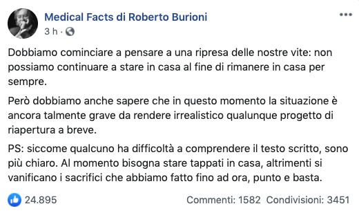 Post su Facebook di Roberto Burioni