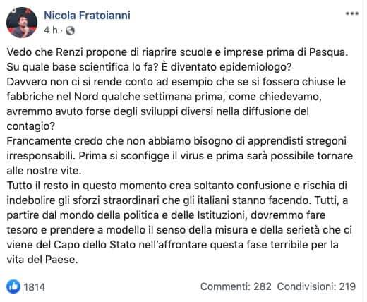 Post su Facebook di Nicola Fratoianni