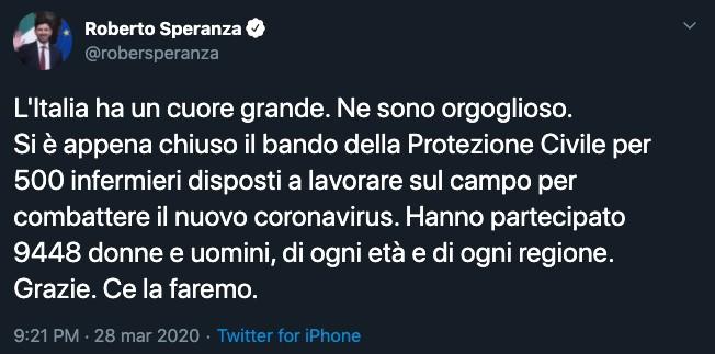 Tweet di Roberto Speranza
