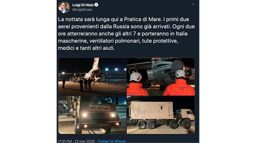 Tweet di Luigi Di Maio