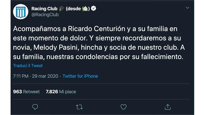Tweet del Racing Club per Centurion